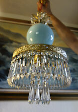 Old Vintage SWAG Aqua Blue Art glass tole Brass hanging lamp chandelier crystal