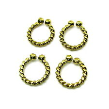 4pc Lot Twisted Wire Indian Nose Ring Fake Nose Gold plated brass Hoop