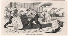 NEW ORLEANS LEVEE, BLACK MEN LOADING COTTON BALES, antique engraving 1855