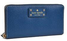 NEW KATE SPADE NEDA WELLESLEY COBALT BLUE LEATHER ZIP WALLET CLUTCH