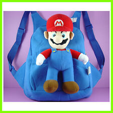 CUTE Super Mario Bros Blue Stuffed Soft Plush Toy Doll Backpack Bag + GIFT
