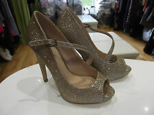 Size 4 Lipsy London Gold Glitter Heels NWT with Peep Toe/Front Strap/High Heels