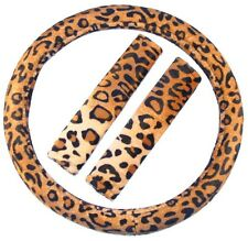 3pc BROWN TAN LEOPARD Steering Wheel Cover SET Shoulder Pads Car Van Suv Truck