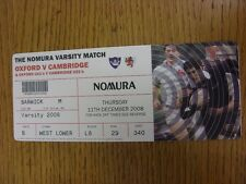 11/12/2008 Rugby Union Ticket: Oxford University v Cambridge University [At Twic