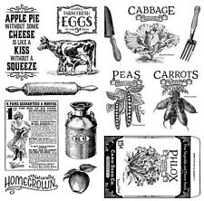 Graphic 45 HOME SWEET HOME 15-pc Cling Stamp 2 & 3 Cooking Garden Bake Farm