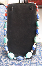 Unique Handmade Tibetan Turquoise, Lapis and Coral Beads necklace, Nepal