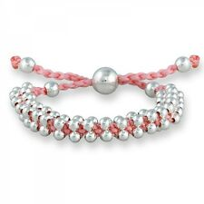 Fashion Silver Beads on a Pink adjustable Cord Friendship Bracelet