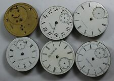 6 VINTAGE POCKET WATCH MOVEMENTS & DIALS ELGIN HAMPDEN NATIONAL WATCH CO LOT