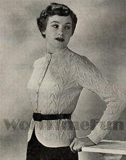Vintage Knitting Pattern Lady's Aran Cable Cardigan/Jacket. 35 to 44 Inch Bust.