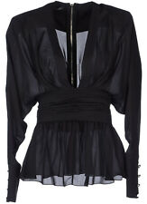 BALMAIN Black Silk Plunging Low Cut Top 36 4