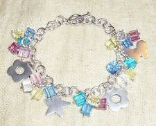 VINTAGE STERLING SILVER Multi-color Crystals Charm Chain TOGGLE BRACELET 7.25""