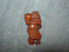NETSUKE OLD MAN FIGURINE BOXWOOD JAPANESE HAND CARVED HANDMADE CARVING SIGNED