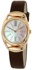 Gucci Horsebit WHT Pearl Dial Brown Leather Pink Gold PVD Women Watch YA140507