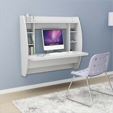 NEW PREPAC WHITE FLOATING WALL MOUNT WRITING COMPUTER STUDENT DESK SHELVES
