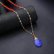 Collier Doré Mi Long Pendantif Goutte Bleu Mini Perle Rouge Retro DDZ2