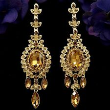 18K Gold Plated GP Topaz Crystal Rhinestone Chandelier Drop Dangle Earrings 7927