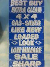 $ CAR DEALER 10 dozen NEW WINDOW ADVERTISE SLOGANS STICKERS 10K-1 blue/white