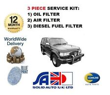 FOR TOYOTA LANDCRUISER 80 4.2TD 1990-1998 NEW SERVICE OIL AIR FUEL FILTER SET