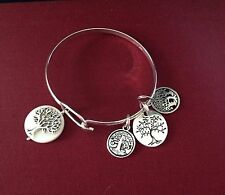 Tree of Life Bracelet Sterling Silver Overlay Bangle Mother Of Pearl Charm