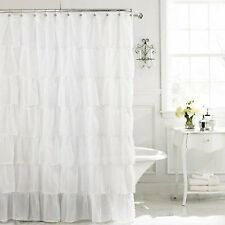 Chic ruffle semi sheer shower curtain white new free shipping