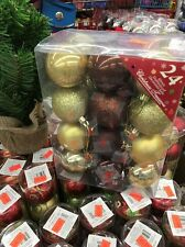 60mm Shatterproof Decorated Christmas Balls - 24 ct - Gold/Brown/Tan