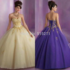 New Gold Embroidery Sweetheart  Purple Champagne Red Ball Gown Quinceanera Dress