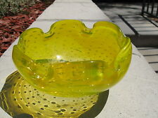 Vintage Murano Controlled Bubbles Art Glass Bright Yellow Ashtray/ Rose bowl