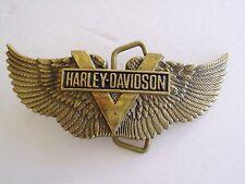 BELT BUCKLE HARLEY DAVIDSON  1983 SOLID BRASS GOLD TONE BARON H-510  VINTAGE