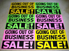 6 GOING OUT OF BUSINESS Window Signs 2x3 Pink/Green/Yellow Paper