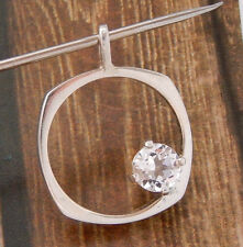 STERLING SILVER & CZ MODERNIST NECKLACE PENDANT VINTAGE #081U