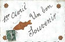 APRIL FOOLS April 1 Comic Holiday Postcard c1910 French France GOLD FISH M47