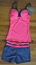 NWT Womens FREE COUNTRY Coral Pink Gray Tankini Shorts Swim Suit Sz XL