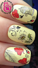 NAIL ART WRAP WATER TRANSFERS STICKERS DECALS BIRDCAGE BIRD POPPY BUTTERFLY #61