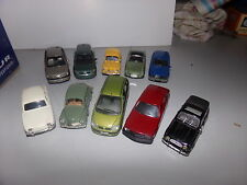 voiture miniature 1/43  LOTS NOREV SOLIDO RENAULTS DAUPHINE+SCENIC+4CV + CLIO...