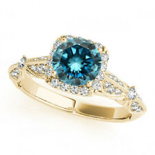 1.06 Carat Fancy Blue Diamond Engagement Ring New Style 14k Yellow Gold Classy