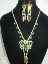 Spectacular Vintage D & E Juliana Watermelon Necklace Earrings Demi-Parure Set