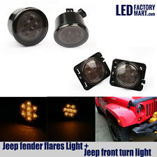 2X Jeep Front LED Turning Signals +2X Fender Flares Lights For Jeep Wrangler