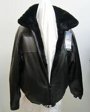 Men's Size 42 Brand New Reversible Black Leather Jacket with Sheared Beaver Fur