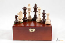 "Br3.5"" STAUNTON No.5 WEIGHTED PROFESSIONAL CHESS PIECES IN WOODEN CRAFTED BOX!!"