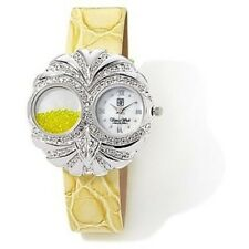 Victoria Wieck Yellow Leather Loose Crystal Large Silvertone OWL Watch NWT