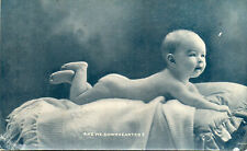 Vintage Postcard CUTE GORGEOUS EDWARDIAN BABY Are We Downhearted?  (GRN)