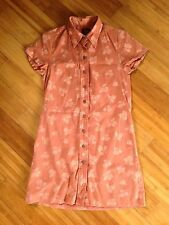 Sig Zane Aloha Shirt Dress Dusty Rose Floral Print Short Cap Sleeve Size XXS 2XS