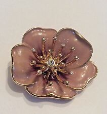 Vintage signed Monet pinkish? Tan enamel and rhinestone flower brooch