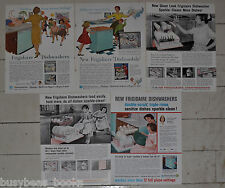 1958-60 Frigidaire DISHWASHER advertisements x5, retro kitchen, MOM in apron
