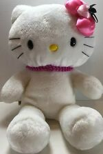 """Build A Bear 17"""" White Hello Kitty - Pink Heart Bow & Bead Necklace! - 60AC"""