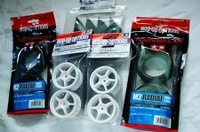 TAMIYA 1/10 RC CAR TIRE(53227)+WHEEL(53232)+INNER SET M2 Radial,5 spoke white