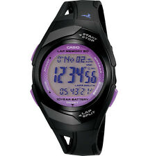 Casio STR300-1C, 60-Lap Memory, Black Resin Watch, 4 Alarms, 10 Year Battery