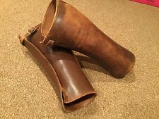 Pair of Vintage English Brown Leather Gaiters Military Shin Guards Spats Riding