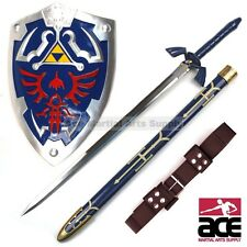 FULL SIZE Legend of Zelda Link's Hylian Shield Steel Master Sword Cosplay Combo