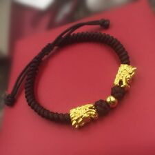 Fine Authentic 24k Yellow Gold Dragon Beads Knitted Bracelet 16.5cm Length 2.60g